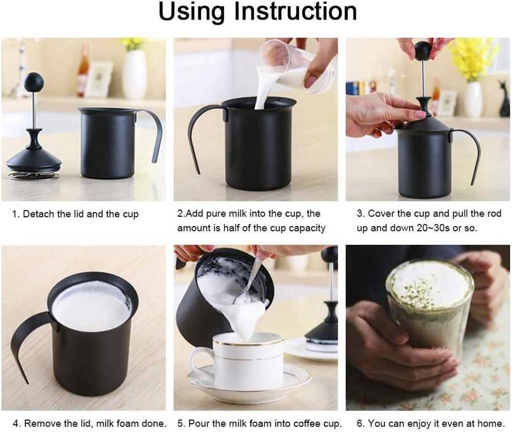 Schiuma manuale in schiuma in acciaio inox, con manico e coperchio per caffè, cappuccino e latte, 400 ml 400 ml. 400 Ml.