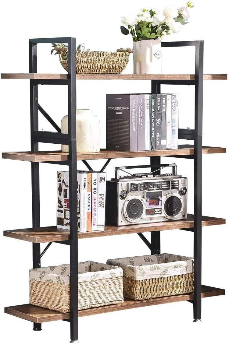 Solid Wood Book Shelves 3//4 Tier Display Storage Shelf Living Room Shelving Unit