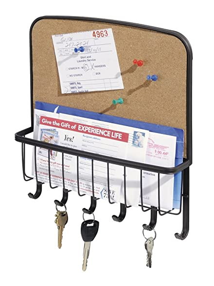 Mdesign Mail Letter Holder Key Rack Organizer For Entryway Kitchen With  Cork Board