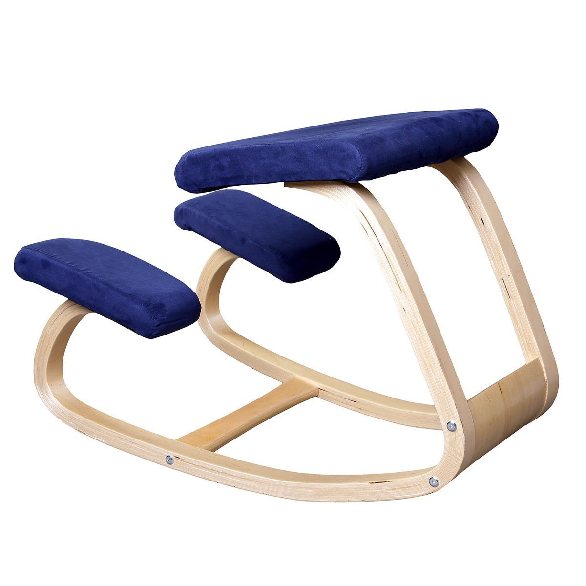 Rocking kneeling chair - Amazon Com Ergonomic Kneeling Chair Better Posture Kneeling Stool For Body Shaping And Relieveing Stress Home And Office Wooden Orthopedic Stool Blue