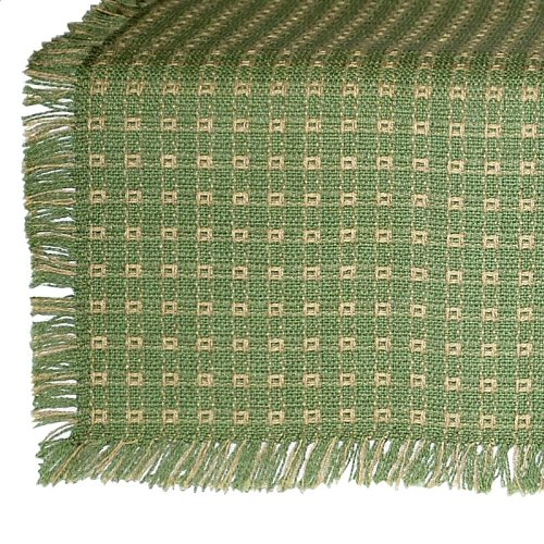 62 x 108 (Rectangle) Homespun Tablecloth, Hand Loomed, 100% Cotton, Sage/Stone