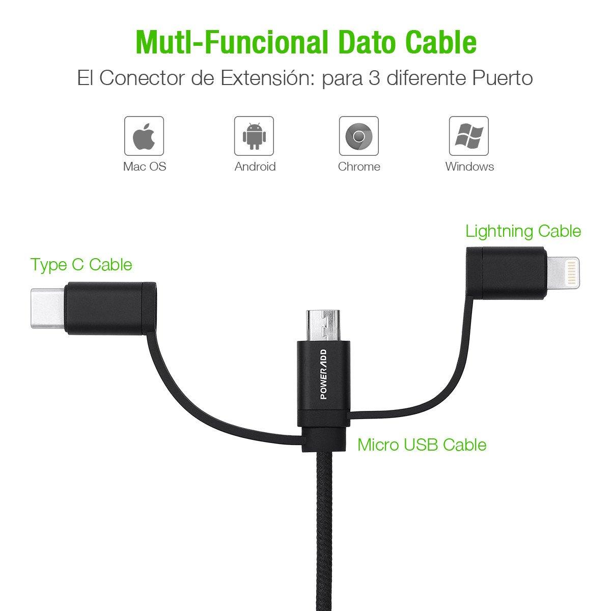 Poweradd Cargador Multi Cable Usb, 3 en 1 Multi-Función Negro