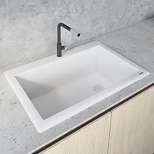 Ruvati 33 X 22 Inch Granite Composite Drop In Topmount Single Bowl Kitchen Sink Arctic White Rvg1033wh