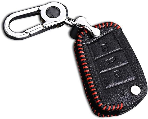Schlüssel Hülle Leder Auto Schlüsseltasche Mit Schlüsselanhänger Für 3 Tasten Klappschlüssel Fernbedienung Autoschlüssel Rotes Nähen 1 Stück Modell B Auto