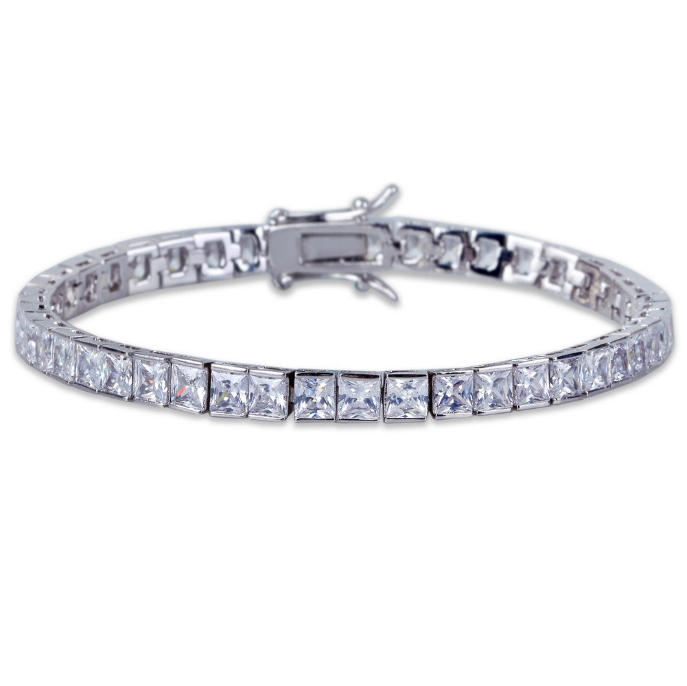 JINAO 1 Row AAA All Iced Out Tennis Bling 4-6mm Square Cut Lab Simulated Diamond Bracelet 8'' 7'' (6MM Silver 7'')