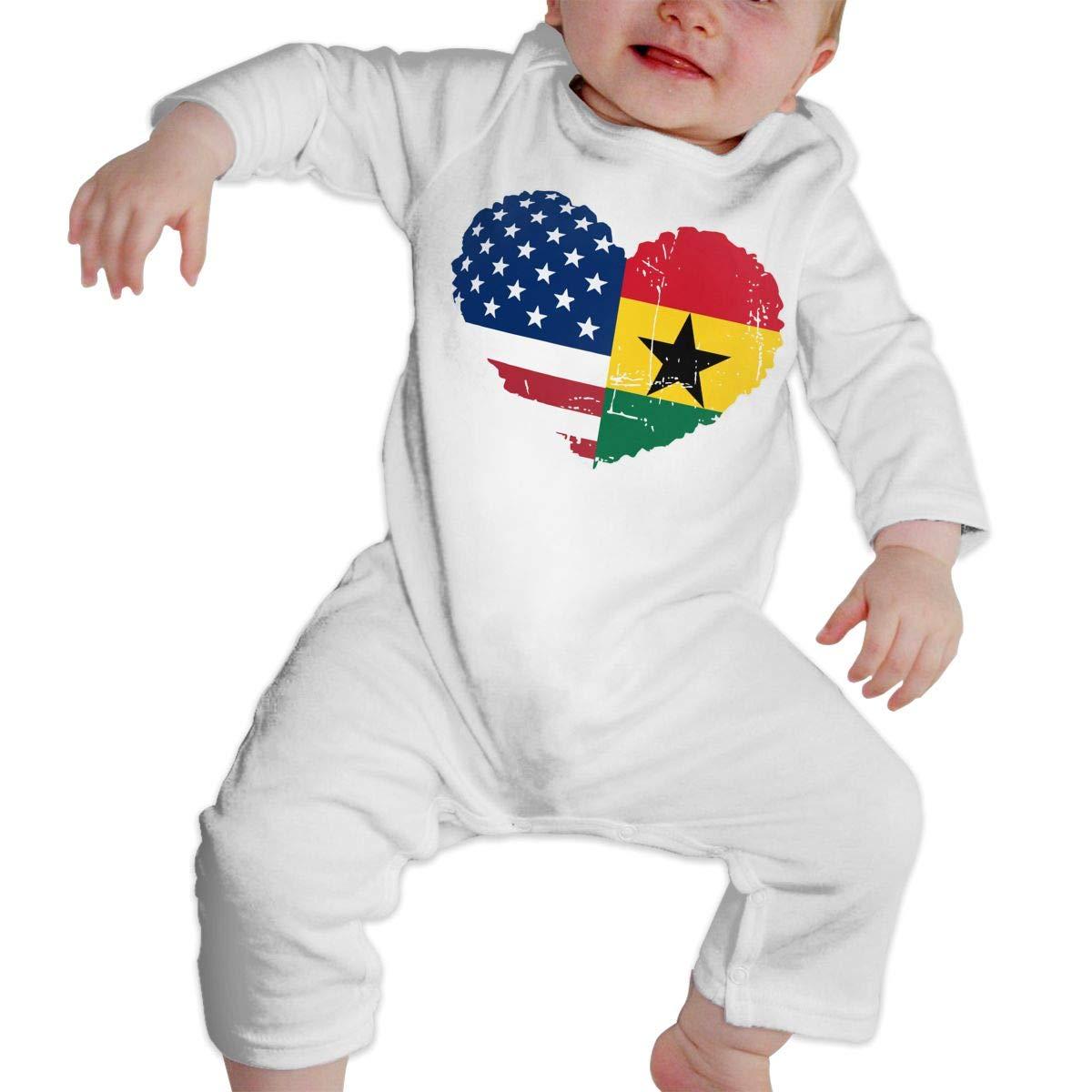 A1BY-5US Newborn Baby Boys Girls Cotton Long Sleeve Ghana USA Flag Heart Climb Romper One-Piece Romper Clothes