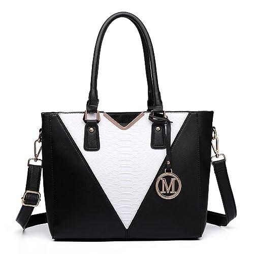 Miss Lulu Leather Look V Shape Multicolour Tote Handbag (Black White Black) 60a27edb71fd6