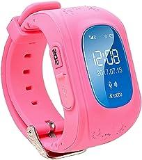 Glückluz Reloj para Niños, Kids Smartwatch GPS Tracker con Localizador para Niños Niñas SIM Anti-perdida SOS Compatible con Android/IOS Smartphone-(Rojo)