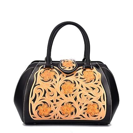 New Leather Carving Handbags Chinese Style Fashion Embossed Ladies Big Bag  Diagonal Handbag Handbags Retro Flower