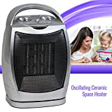 Oscillating Ceramic Space Heater Fan Home Office Portable, Adjustable Thermostat