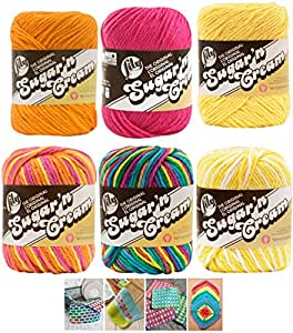 Variety Assortment Lily Sugar'n Cream Yarn 100 Percent Cotton Solids and Ombres (6-Pack) Medium Number 4 Worsted Bundle with 4 Patterns (Asst 35)