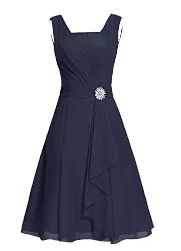 Dresstells® Short Bridesmaid Dress Square Chiffon Mother Party Dress with Sash