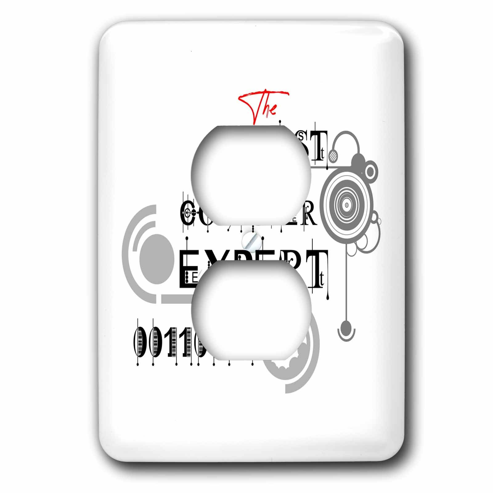 3dRose Alexis Design - Best Professional Ever - Impressive text The Best Computer Expert, geometry shapes on white - Light Switch Covers - 2 plug outlet cover (lsp_286488_6)