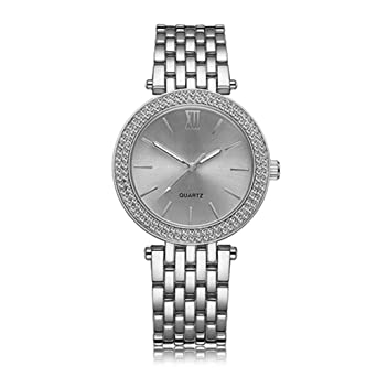 Lvpai Womens Luxury Roman Numeral Rhinestone Inlaid Quartz Wrist Watch - Silver