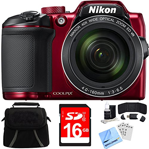 Beach Camera Nikon COOLPIX B500 16MP 40x Optical Zoom Digital Camera w/Built-in Wi-Fi 16GB Bundle Includes Camera, Bag, 16GB Memory Card, Reader, Wallet, Screen Protectors, Cleaning Kit Cloth