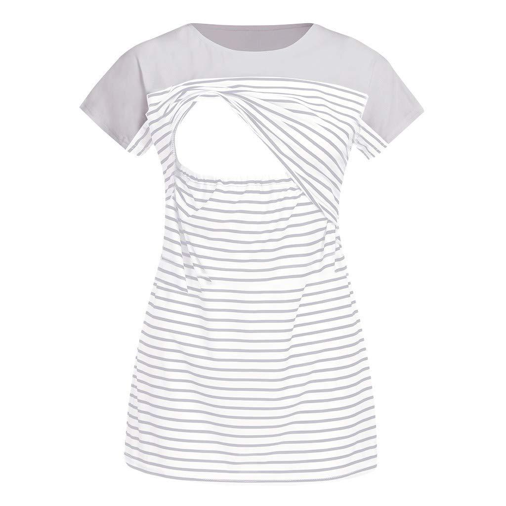 Nursing Maternity Top,Pregnant Breastfeeding Shirt,Jchen Women Summer Striped Patchwork Double Layered Postpartum Blouse (M/US Size:6, Gray)