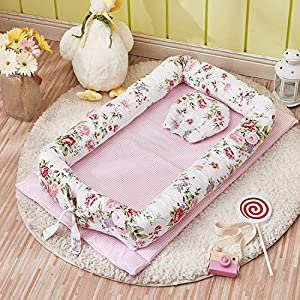 Abreeze Baby Bassinet for Bed -Rose Baby Lounger – Breathable & Hypoallergenic Co-Sleeping Baby Bed – 100% Cotton Portable Crib for Bedroom/Travel 0-24 Months