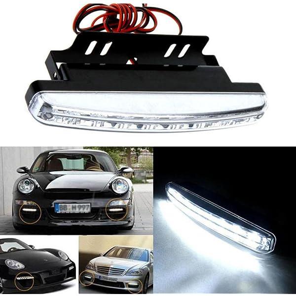 RONSHIN 2pcs White DRL LED Car Daytime Running Lights Driving Bulbs Daylight Fog Light