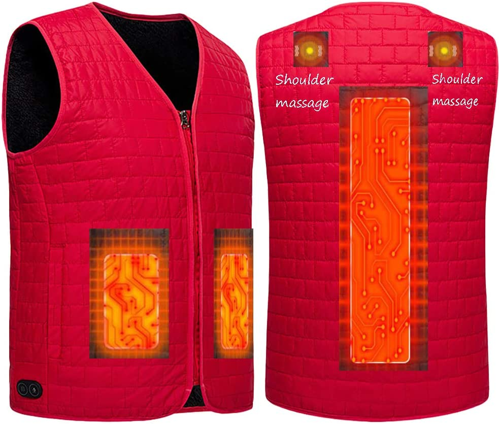 SNOWFLU Massage Heated Vest,Temperature Adjustable,Washable,USB Charging Electric Heating Clothing,for Men Women Back Pain Outdoor Hunting Camping