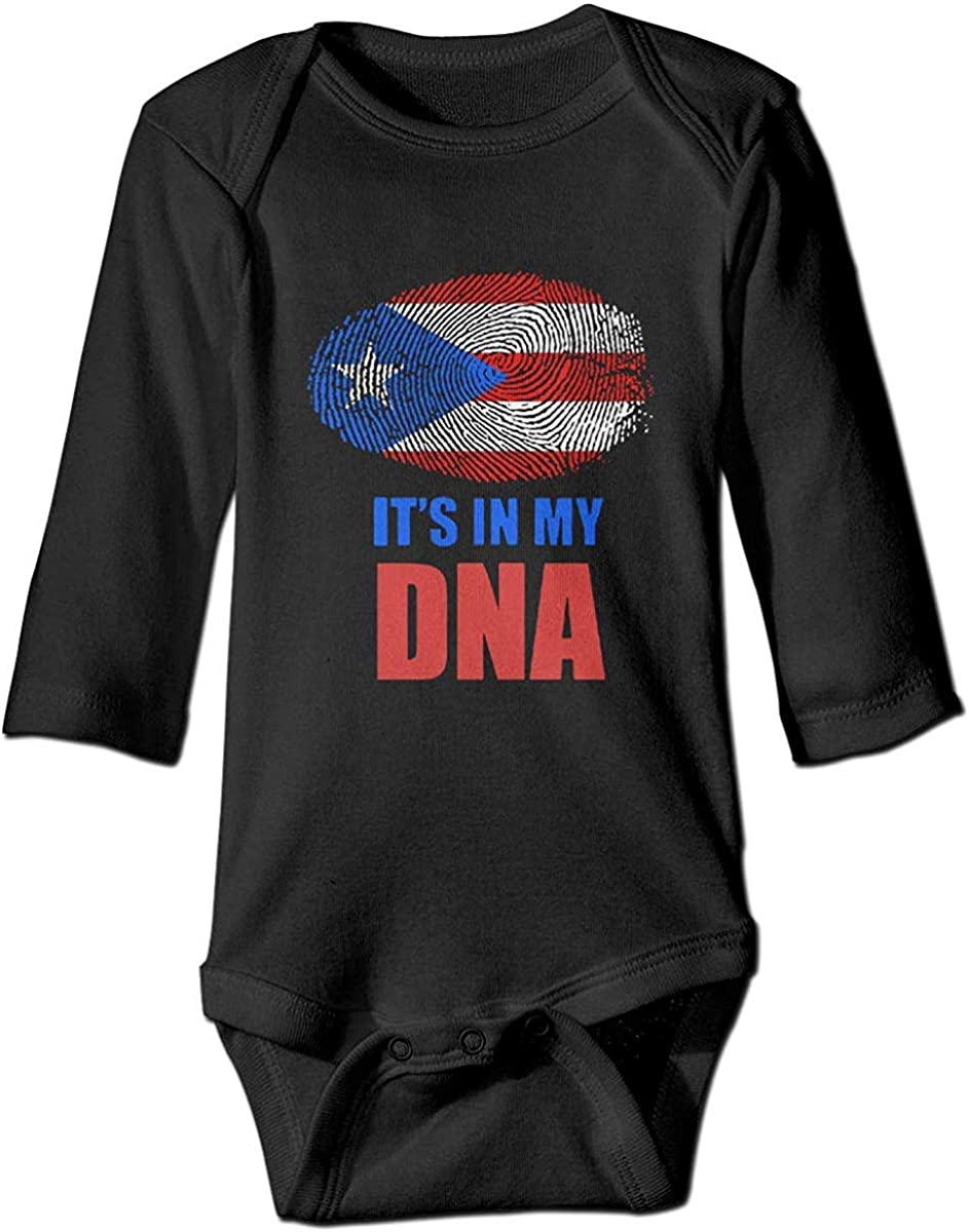 WlQshop Mono para Bebé,Mameluco Bebé Unisex Puerto Rico Flag It's in My DNA Newborn Baby Boys Girl Long Sleeve Bodies Romper Jumpsuit