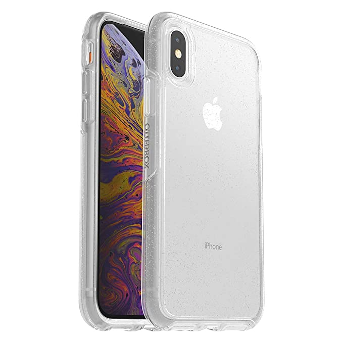 buy popular 2fec5 d5b20 OtterBox Symmetry Clear Series Case for iPhone Xs & iPhone X - Retail  Packaging - Stardust (Silver Flake/Clear)