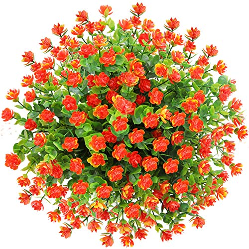 CQURE Artificial Flowers, Fake Flowers Artificial Greenery UV Resistant Plants Eucalyptus Outdoor Bridal Wedding Bouquet for Home Garden Party Wedding Decoration 5 Bunches (Orange Red) (Large Artificial Flower Arrangements For The Home)