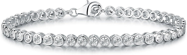Diamond Treats Pulsera de Tenis de Mujer, Plata DE Ley 925 sólida con Circonitas Cúbicas Blancas de 3mm engastadas en Bisel Pulsera eternidad de Mujer 16.5 cm - 20.3 cm