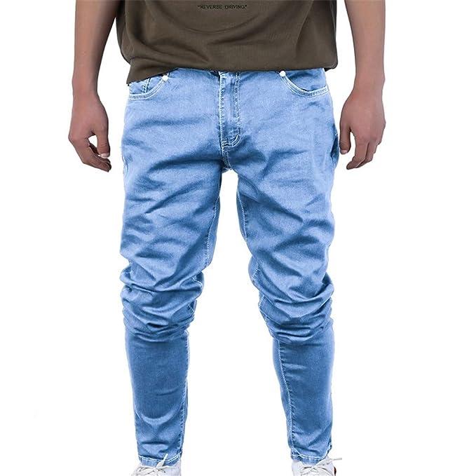 Bonboho Hombre Pantalones Vaqueros Casuales Slim de Algodón ...