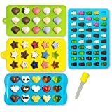 small silicone baking molds - Candy Molds & Silicone Chocolate Mold | Jello & Ice Cube Trays | Set of 4 | Non Stick & BPA Free | Hearts, Stars, Shells & Gummy plus 1 dropper - by Lucentee