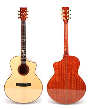 NUYI 41 Pulgadas Abeto Caoba Completo Solo Guitarra Folk Ángulo ...