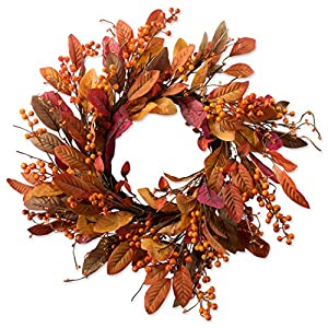 "DII Decorative Leaves & Berries 22"" Fall Harvest Wreath for Front Door or Indoor Wall Décor to Celebrate the Thanksgiving & Fall Season 44"