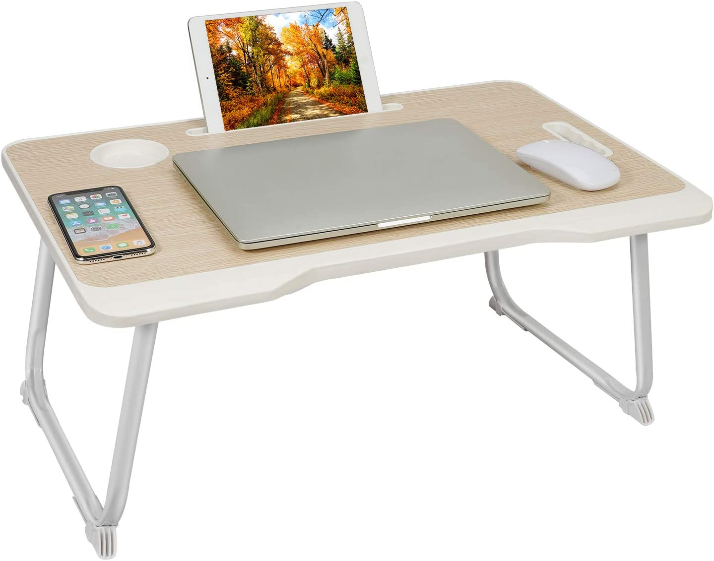 Phyllia Laptop Bed Tray Table,Foldable Lap Desk Stand with Cup Holder Home Office Lightweight Table for Eating, Working, Writing, Gaming, Drawing (Light Brown)