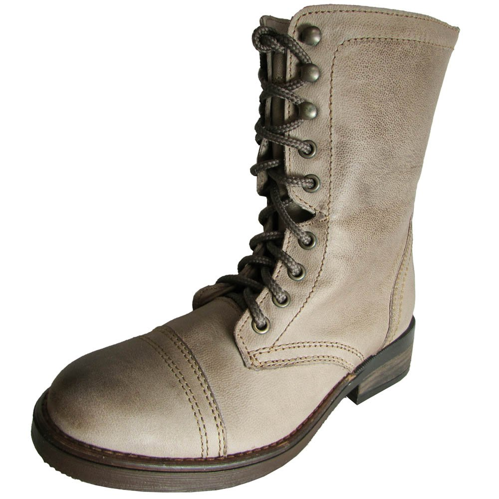 Steve Madden damen Munch Leather Military Style Stiefel, Stone, US 6.5