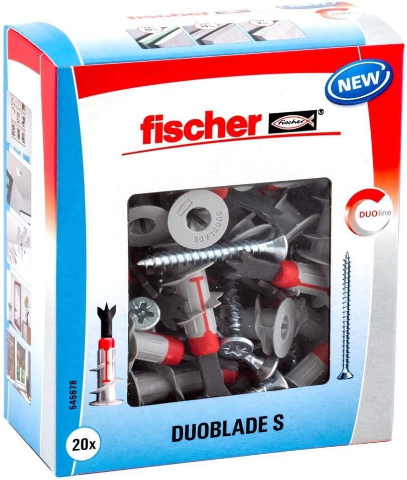 Fischer 545678 taco autorroscante para cartón yeso, gris y rojo