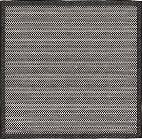 Unique Loom Outdoor Collection Striped Casual Border Indoor Outdoor Transitional Gray Square Rug (6' x 6') (Square Rug Gray)