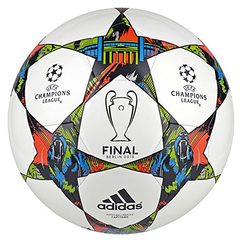 adidas Performance Finale Berlin Capitano Soccer Ball, White/Solar Blue/Flash Green, Size 3