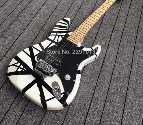 【送料無料】エレキギター ゼブラ模様 白&黒 コイルタップ ストライプ ピックガード付き 海外ノーブランド品 マホガニー ブラジルウッド   B07HCSNXT2