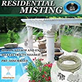 Patio Misting Kit - Pre- Assembled Misting System - Cools temperatures by up to 30 degrees - Brass/Stainless Steel Misting Nozzles - For Patio, Pool and Play areas (48ft - 12 Nozzles)