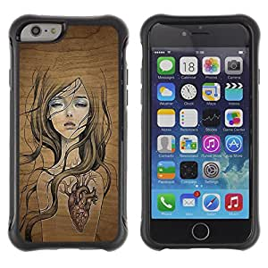 ZAAAZ Rugged Armor Slim Protection Case Cover Durable Shell - cool nature wood tree soul girl heart pre - Apple Iphone 6