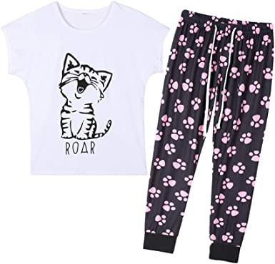 MyFav - Conjunto de pijama de manga corta para mujer, diseño de gato de dibujos animados