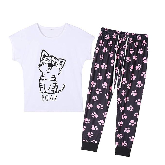 Amazon.com: YIJIU - Pijama de manga corta para mujer, diseño ...