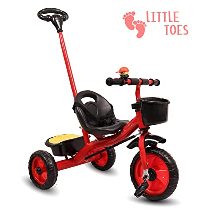 Little Olive Little Toes Baby / Kids Tricycle with Push Bar, 1-4 Years (Red)