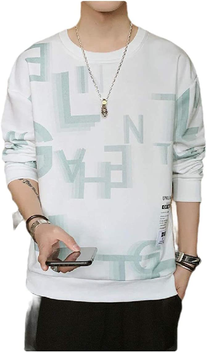 Tralounry Men Vogue Relaxed Fit Floral Print O-Neck Plus-Size Outwear Sweatshirts