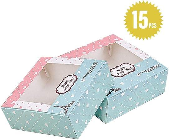 15 Piezas Cajas de Cupcakes,Cajas de panadería para galletas Cajas para Pasteles con Ventana de Transparente Muffin Simple perfecta para pasteles ,galletas,pasteles pequeños,tartas,cupcakes: Amazon.es: Hogar