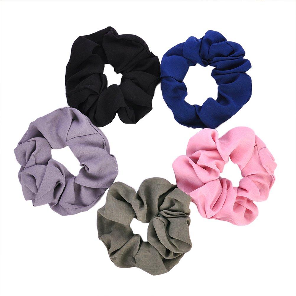 FRCOLOR 5 Stück Samt Haargummis Elastisch Pferdeschwanzhalter für Mädchen Damen