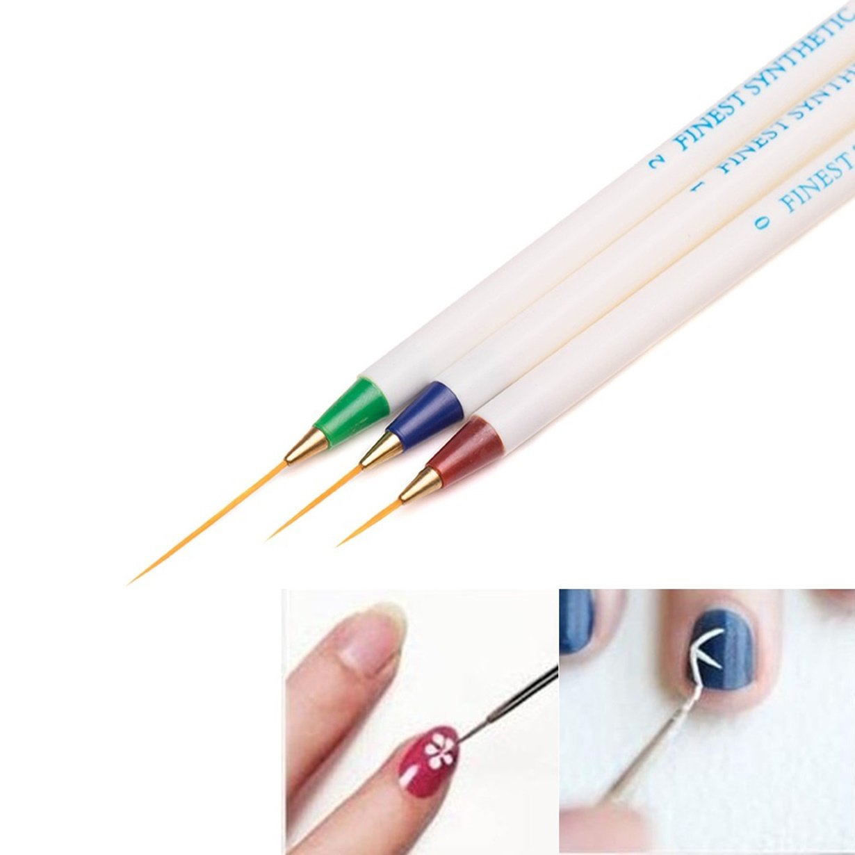 3 Pcs Dotting Painting Drawing Design Brush Pen Nails Brushes Make up Tools for Women Girls Professional Soft Nail Art Artificial Tool Kits Great Popular Toenail Pads Lacquer Clean Remover Kit