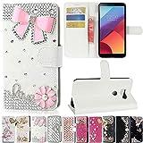 LG V30/V30+/V30 Plus Case, Best Share Manual Bling Flip Stand PU Leather Wallet Full Cover Silicone Case Card Slot for LG V30/V30+/V30 Plus, White-Pink Bowknot