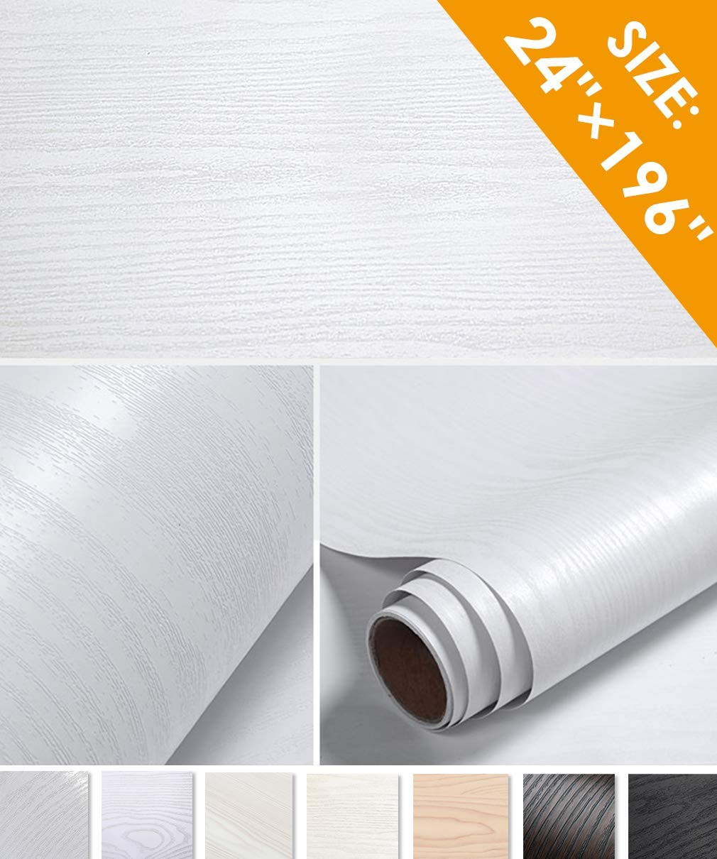 Oxdigi White Wood Grain Contact Paper 24 x 196 inches Decorative for Countertops Cabinets Shelf Liners Doors Self-Adhesive Film Peel & Stick Waterproof Removable Wallpaper by Oxdigi
