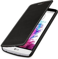 StilGut UltraSlim Case, custodia a libro in vera pelle per LG G3 Stylus, nero nappa