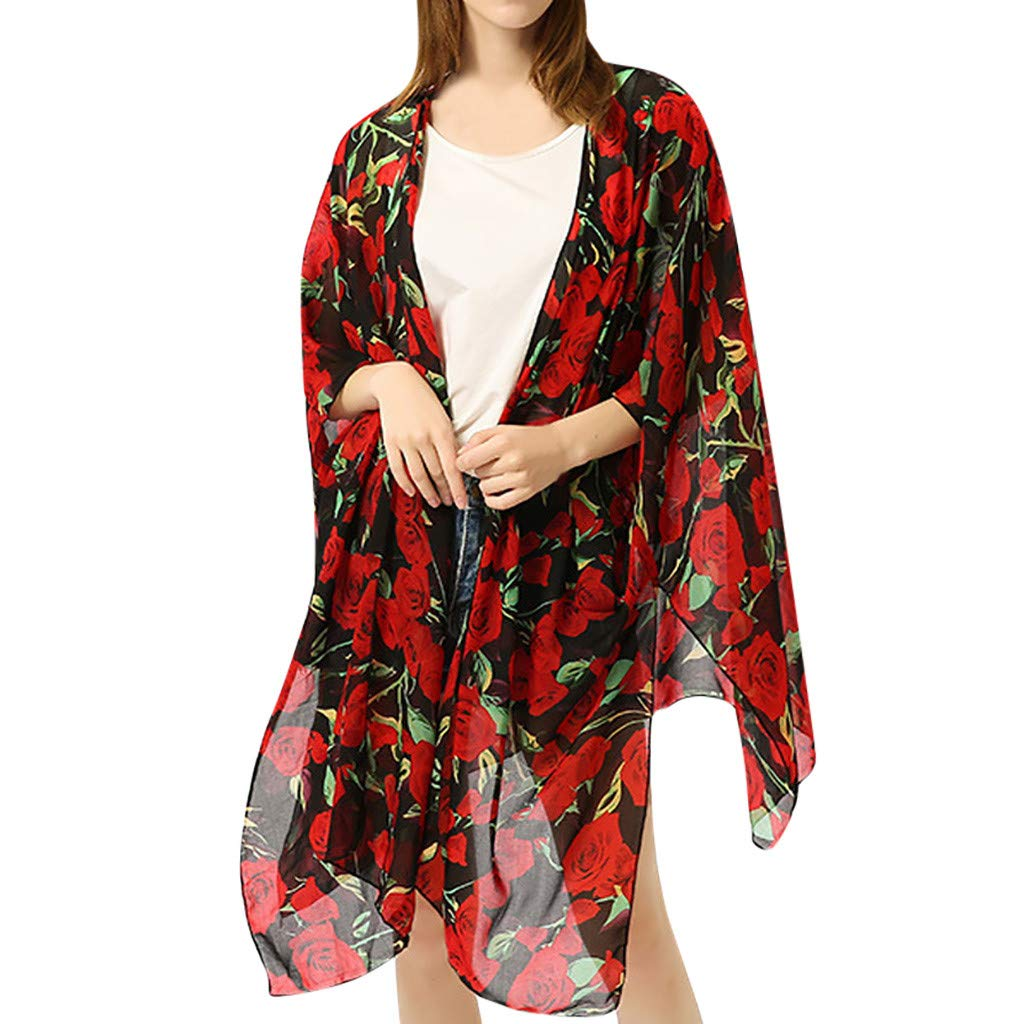 Winsummer Women's Beach Cover Up Floral Print Chiffon Summer Sun-Protection Swimwear Kimono Cardigan